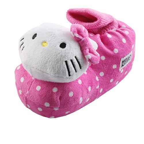 Tierhausschuhe Plüsch Hausschuhe Hello Kitty Katze Pink Rosa Plüsch Pantoffel Schlappen Kinder Mädchen Orig., TH-HelloKitty Dot pink