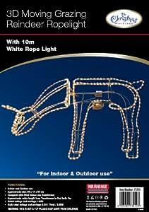 Benross The Christmas Lights 3D Grazing Moving Side to Side Motorised Reindeer Rope Light - White