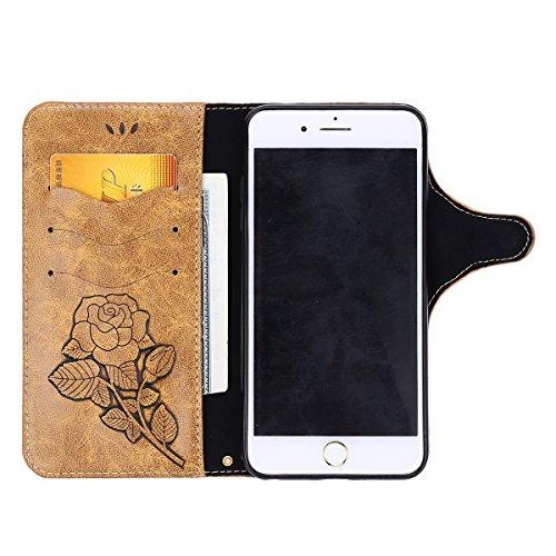 Custodia iPhone 6S Plus,Custodia iPhone 6 Plus,ikasus® iPhone 6S Plus / 6 Plus Custodia Cover [PU Leather] [Shock-Absorption] Protettiva Portafoglio Cover Custodia Con retro fibbia in pelle 3D rilievo Caffè