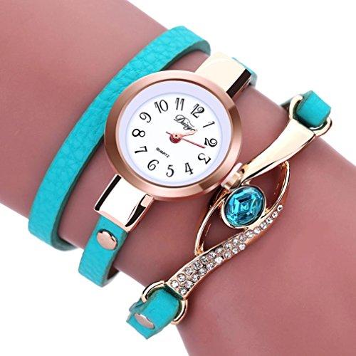 LSAltd Damen Art und Weisediamant-Verpackung um Uhr Lederoid Quarz Armbanduhr (Grün)