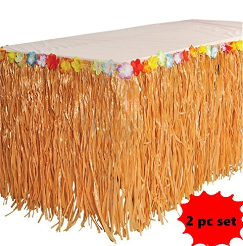 Happy_Deals B00s8wv4W0Lot de 2-Luau Gazon Table Jupes W/Fleurs Tropicales