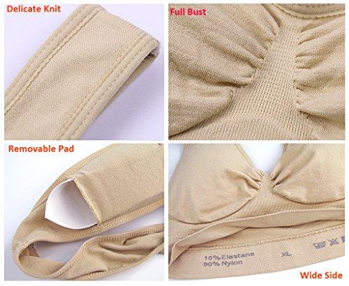 Femme Soutiens-Gorge de Sport Padded Wirefree Push Up Sans Armature Lingerie Plus Taille Nude