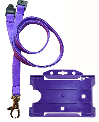 Customcard ltd® Coloured Neck Strap Lanyard Metal Clip & Colour ID Badge Holder Purple x 1