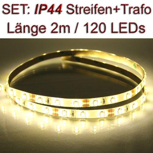 SET LED Streifen Strip WARMWEISS wasserdicht 2 m + Trafo PCBw