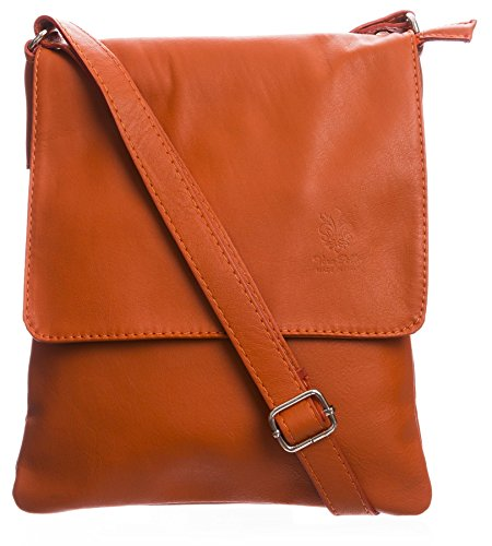 - 51GOHclhLLL - Big Handbag Womens Italian Real Soft Leather Cross Body Messenger Shoulder Bag (Orange)