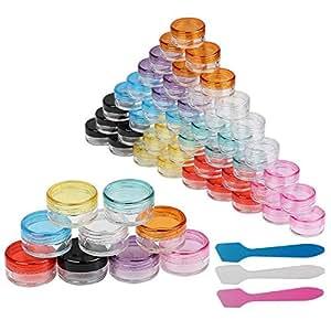 Contenitori Cosmetici,LANMOK 54 Pezzi 5g Contenitore in Plastica Con 3 Pezzi Mini Contenitore Per Campioni Di Spatola Per Pomate,Creme,Accessori Per Unghie