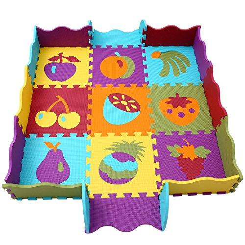 qqpp Tappeto Puzzle con Certificato CE e Certificazione TÜV in soffice Schiuma Eva   Tappeto da Gioco per Bambini   Tappetino Puzzle (Frutta)