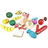 Giocattoli di legno da taglio alimentare Set Frutta Verdura Cucina Giocattolo di Legno Alimenti da Tagliare in Legno Set per bambini