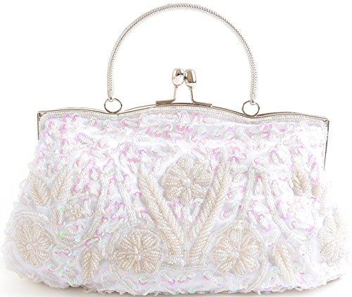 Pulama Damen Clutch 100% handgemachte Pailletten Hochzeit Tasche Umhängetasche Schultertasche Braut Handtasche mit langer Kette Rot