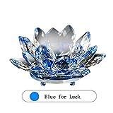 KEBY Kerzenhalter aus Kristallglas, Lotusblüte, Teelichthalter, blau
