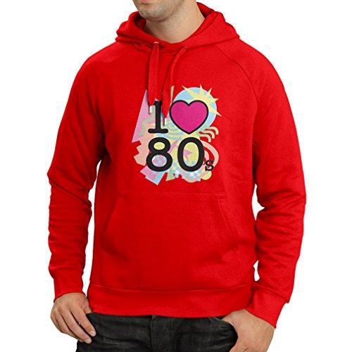 Kapuzenpullover Ich liebe 80er Konzert t-shirts Weinlese Kleidungs Musik t-shirts geschenke (Large Rot Mehrfarben)