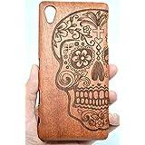 Sony Xperia Z5 Premium Funda de Madera, PhantomSky[Serie de Lujo] Natural Hecha a mano de Bambú / Madera Carcasa Case Cover para tu Smartphone - Cráneo Madera Rosa(Rose Wood Skull)