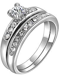Sanwood 2Pcs Frauen Vergoldet Rhinestone Legierung Hochzeit Multiple Ringe