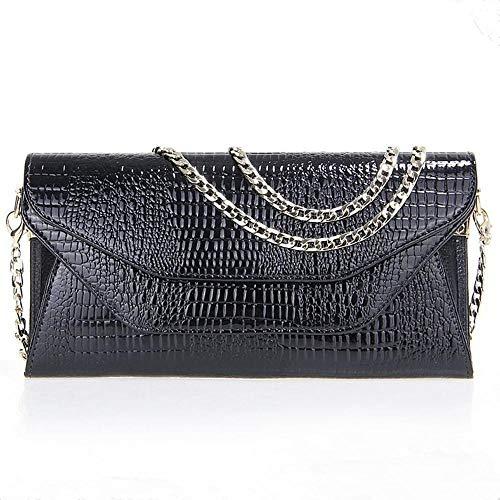 ZhiGe Portmonee Damen Frauenbrieftasche Frauen Patent Leder Brieftasche Frauen Lange Geldbörse Damen Kette Umhängetasche -