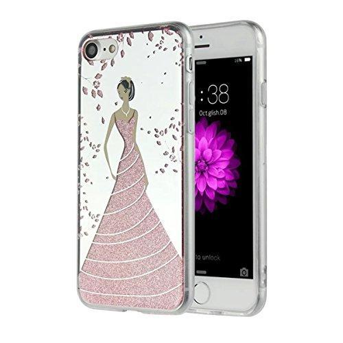MOONCASE iPhone 7 Coque, Bling Glitter Etui TPU Silicone Antichoc Housse Case pour iPhone 7 (Étoile Fille - Rose) Fleur Fille - Rose