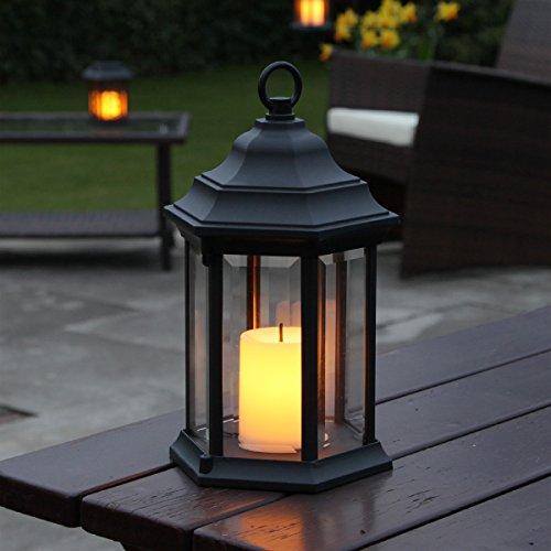 Lanterne Métal Noir Mat et Verre Transparent avec Bougie LED - Effet Vacillant Ambré Ultra Réaliste - Intérieur/Extérieur - 28cm - On/Off Auto à Piles