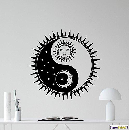 Yin du Yang Day n night 60x60 Wandtattoo Aufkleber Decal von SUPERSTICKI® aus Hochleistungsfolie für alle glatten Flächen UV und Waschanlagenfest Profi Qualität