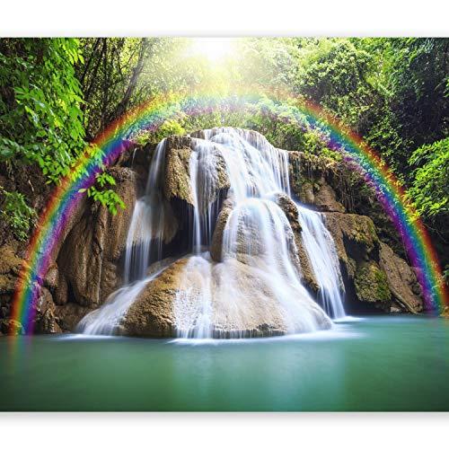 murando - Fototapete 250x175 cm - Vlies Tapete - Moderne Wanddeko - Design Tapete - Wandtapete - Wand Dekoration - Wasserfall Regenbogen Natur Landschaft c-C-0007-a-b