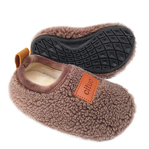 Dream Bridge Kids Sherpa Fleece Slippers with Anti-Slip Sole for Boys Girls