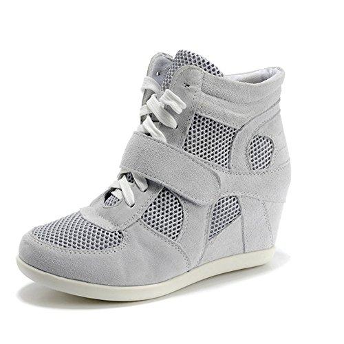 18f2efbb0f68 Generic Women s Wedge Hook Loop Comfort Suede Fabric Trainers Shoes  8522-2(Grey