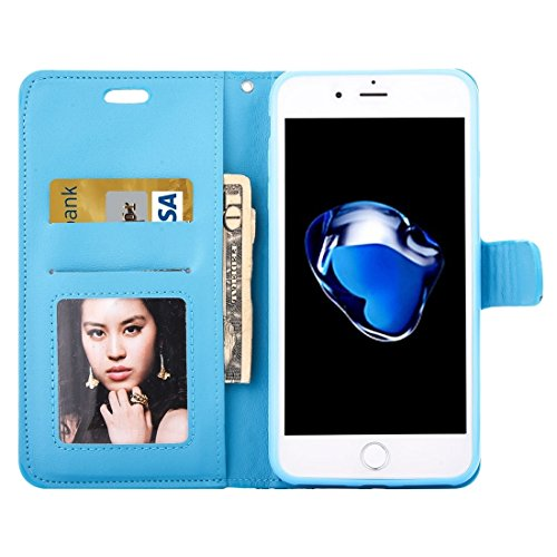GHC Cases & Covers, Für iPhone 7 Plus Jelly Drill Horizontal Flip Leder Schutzhülle mit Halter & Card Slot & Wallet & Photo Frame ( Color : Purple ) Blue