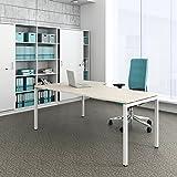 Winkelschreibtisch rechts Computertisch Eckschreibtisch 180 x 120 cm Ahorn NOVA, Gestellfarbe:Weiß