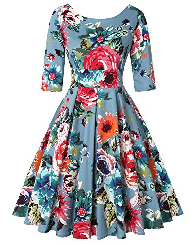 MINTLIMIT Rockabilly Hepburn Faltenrock Floral Cocktail Vintage Teekleid 1950s Vintage Kleid for Women(Floral Blau,Größe XL) - Womens Cocktail-anzüge