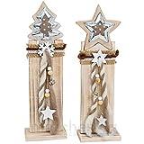 matches21 Stk Weihnachtliche Holz-Deko Tannenbaum ODER Stern auf Holzpfahl je 13x8x44 cm Weihnachtsdeko Winterdeko