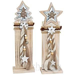matches21 stk weihnachtliche holz deko tannenbaum oder stern auf holzpfahl je 13x8x44 cm. Black Bedroom Furniture Sets. Home Design Ideas