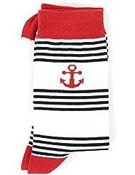 Ancre rayée blanc/marine/rouge - Chaussettes HUBLOT