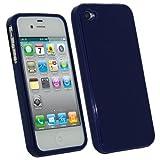 igadgitz Kristall Gel TPU (thermoplastisches Polyurethane) Hülle Etui Case Schutzhülle Tasche Skin in Dunkel Blau für Apple iPhone 4S 16GB, 32GB, 64GB + Display Schutzfolie