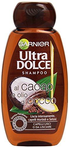 Garnier Ultra Dolce al Cacao e Olio di Cocco Shampoo per Capelli Lisci o da Lisciare, 250 ml