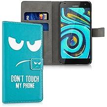 kwmobile Funda para Huawei Ascend G7 - Wallet Case plegable de cuero sintético - Cover con tapa tarjetero y soporte Diseño Don't touch my phone en blanco turquesa