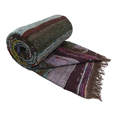 Indian Tapis Tapis Chindi multicouleur les rayures en coton recyclé Rags