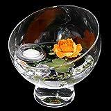 Runde Glas-Schale Nantes Höhe 19cm ø 19cm. Abgeschrägte Dekoschale mit Dekorations Set Rose orange Dekoglas Glasgefäß ausgefallene Deko für Ihre Deko Ideen. Glasdeko von Glaskönig