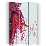 Feeby - Raumteiler - Trennwände – Foto Paravent – Spanische Wand - Bedruckt aufLeinwand – Trennwand – Deko Design – Paravent beidseitig - 3 teilig 110x180 cm - Mayuko Miura - Farbe Abstrakt Rosa Weiß