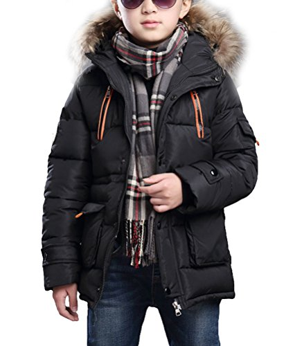 MILEEO Winterjacke für Jungen Jungen Baumwolle Mit Kapuze Jacke Wintermantel Mantel Parka Outerwear, Schwarz, EU 122-128/Asia 130