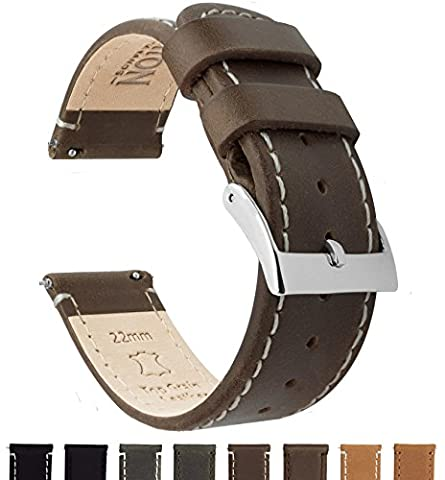 BARTON Quick Release Top Grain Leather Watch Straps - Choose Colour & Width (18mm, 20mm or 22mm) - Saddle/Linen 22mm Watch
