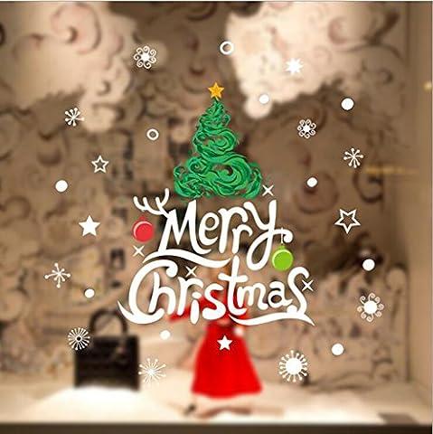 GT Autocollant mural, Arbre de Noël,Noël,salon,chambre,fenêtre,verre,décoration,Mural Sticker