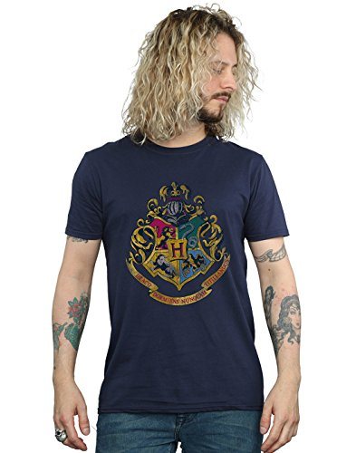 HARRY POTTER Herren Hogwarts Distressed Crest T-Shirt XXX-Large Marine