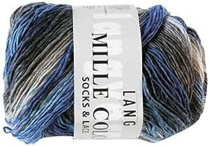 Lang Yarns Mille Colori Pelote de laine pour chaussettes et dentelle Bleu/gris