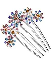 Clip Peineta Peine de Cabello Pelo 5-pin Flor Diamantes de Imitación Multicolor # 6