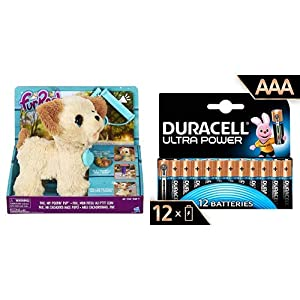 FurReal friends- Pax Mi Perrito (Hasbro C2178EU4) con Duracell - Ultra AAA con Powerchek, Pilas Alcalinas (Paquete de 12) 1.5 Voltios LR03 MN2400
