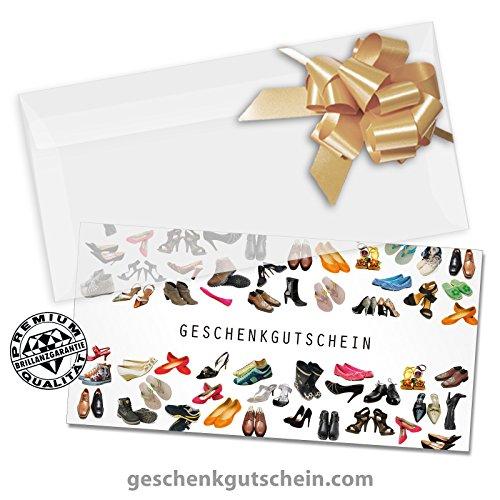 50 Stk. Multicolor-Geschenkgutscheine + 50 Stk. Kuverts + 50 Stk. Schleifen für Schuhe, Schuhfachhandel, Schuhgeschäfte SH230