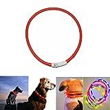 Case Wonder LED Collare per Cane, Collare Cane Luminoso - LED Lampeggiante Sicurezza Collare per Cani - Migliorata visibilità- USB Ricaricabile e Misura Regolabile Collari -3 modalità Luci(Rosso)