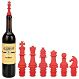 Kidac Weinflaschenverschluss Schach Silikon Flaschenverschluss für Wein Bier Champange Alkohol Sekt (Set von 6 Rot)
