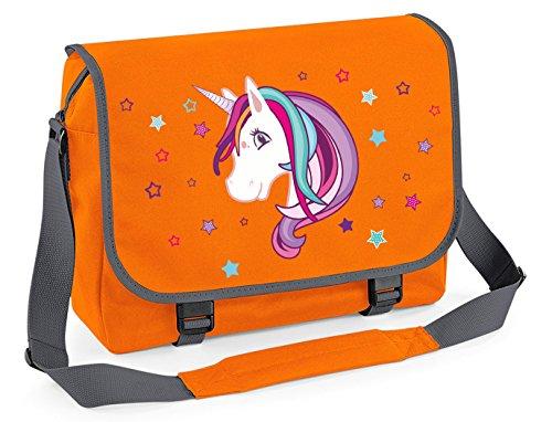 Borsa a tracolla zainetto borsa STUDENTE Borsa a tracolla borsa della spesa Einhorn UNICORNO BEAUTY - oliva Arancione/Grafite