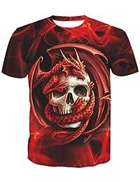 Camiseta básica de algodón para Hombre - Cuello Redondo/Manga Corta con Estampado de Calaveras