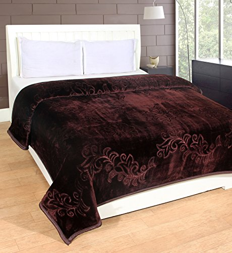 Warmland Mink Embossed Solid Polyester Double Blanket - Brown
