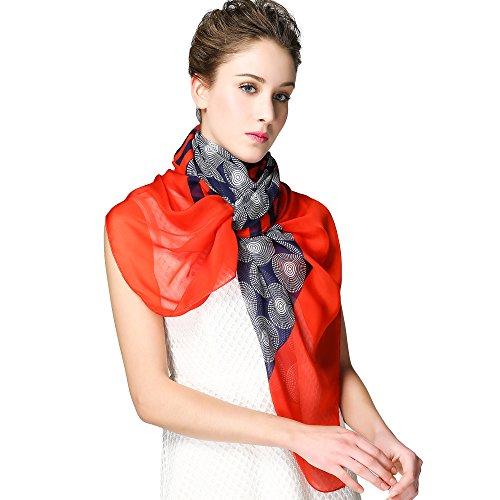 IRRANI femmes 100% soie peinte en châle léger foulard graphic (Rouge-bleu) rouge-bleu